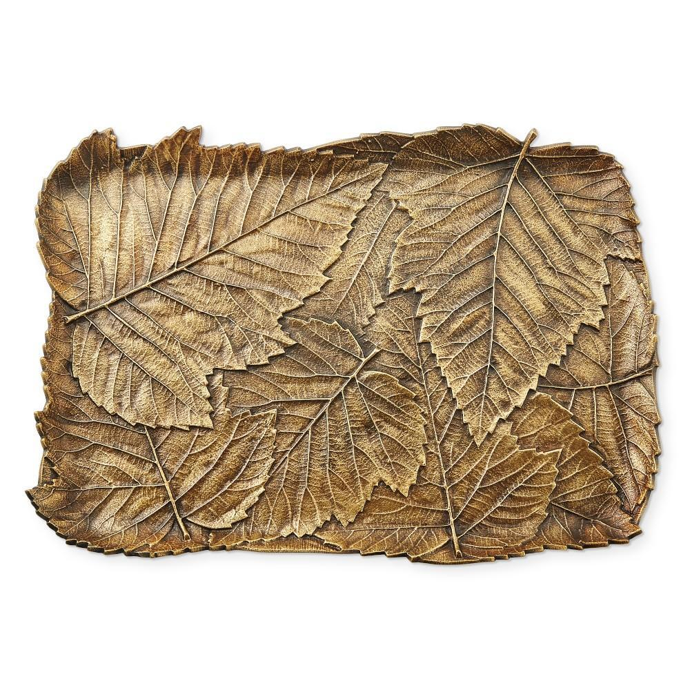 Antique Brass Leaf Serving Platter