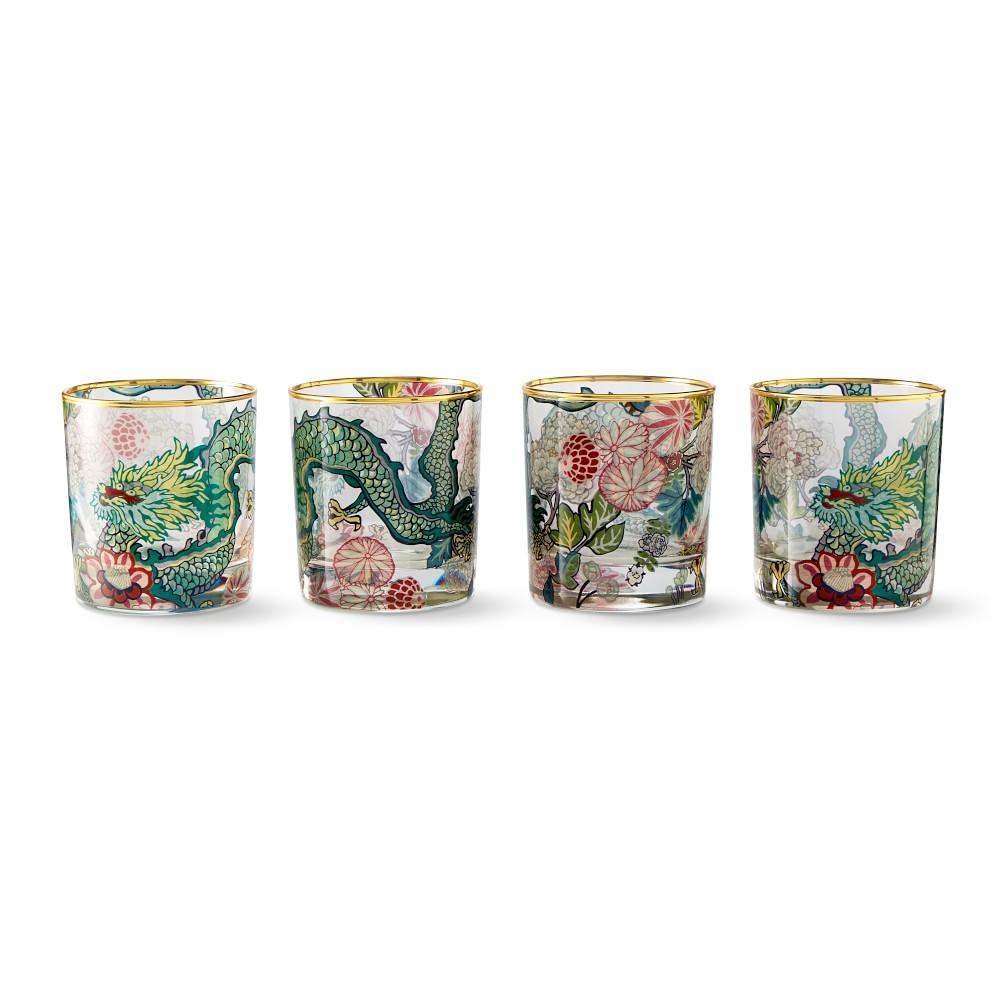 Schumacher Chiang Mai Dragon Double Old-Fashioned Glasses, Set of 4