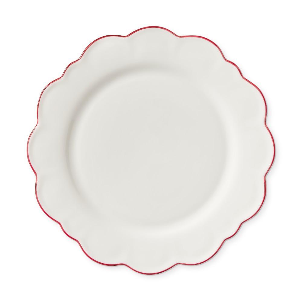 Aerin Scalloped Dinner Plate, Set of 4, Red Rimmed