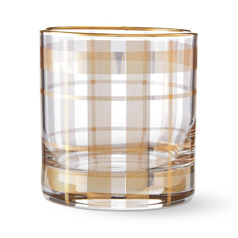Gold Tartan Double Old-Fashioned Glass