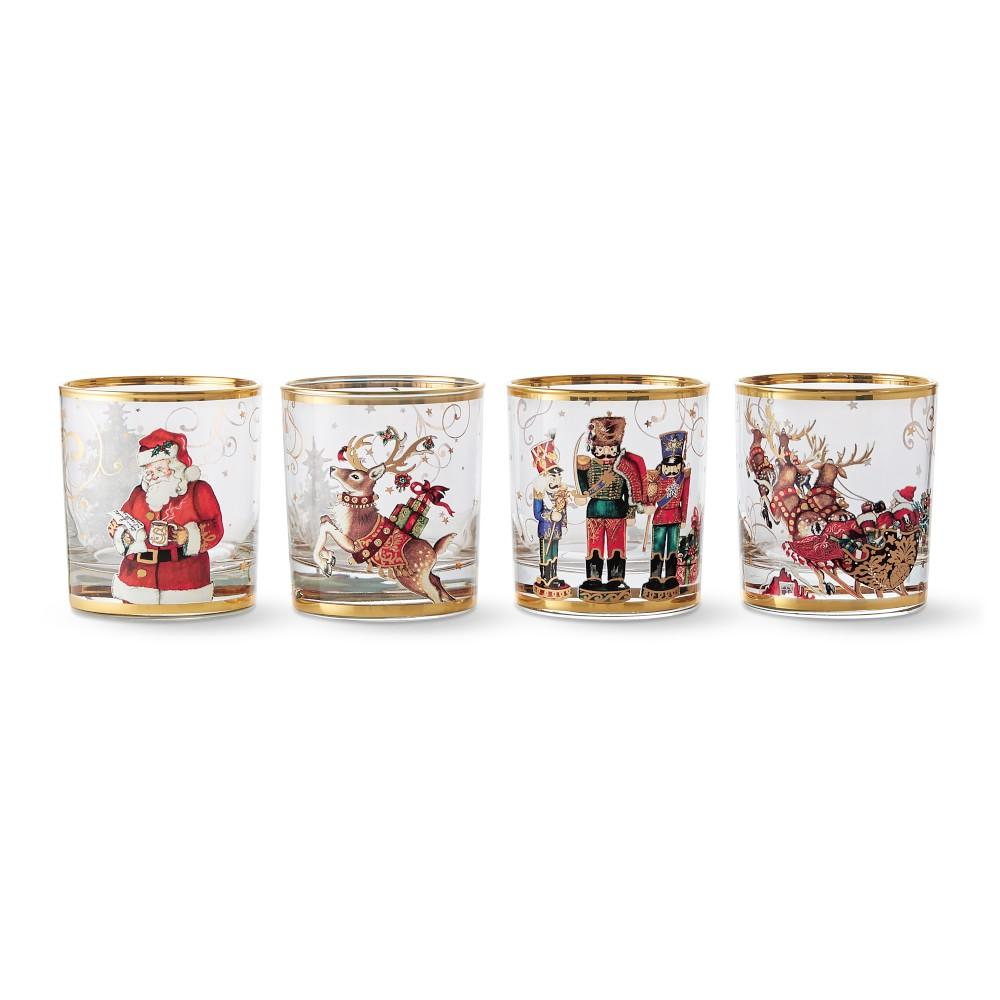 Twas the Night Before Christmas Double Old-Fashioned Glasses Mixed, Set of 4