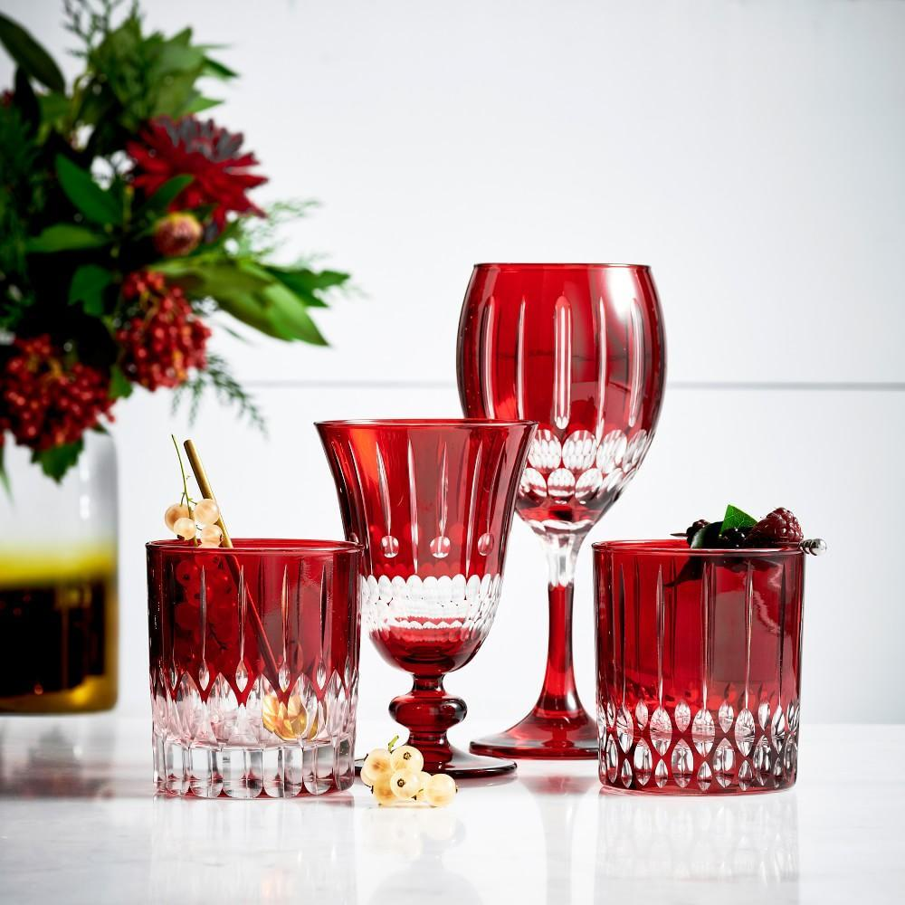 Wilshire Cut Double Old-Fashioned Glasses, Set of 4, Red