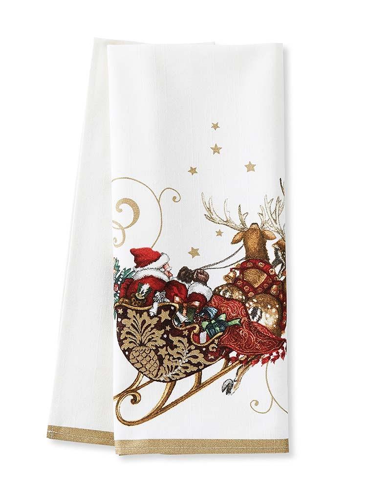 Twas the Night Before Christmas Santa's Sleigh Tea Towels, Set of 2
