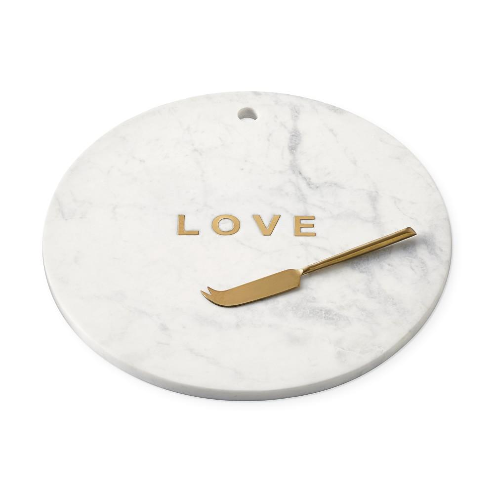 Marble and Brass Round Board with Knife, Love