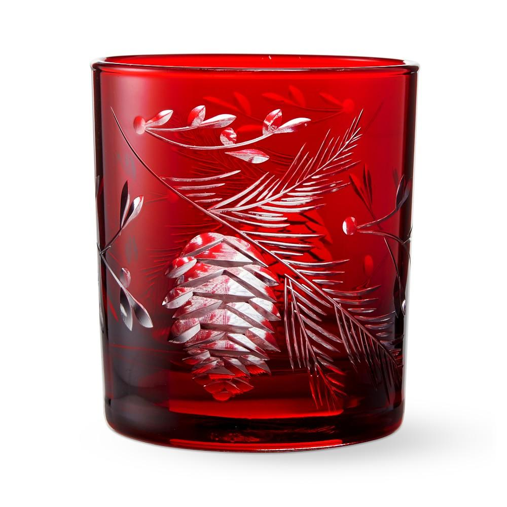 Red Pinecone Cut Double Old-Fashioned Glasses