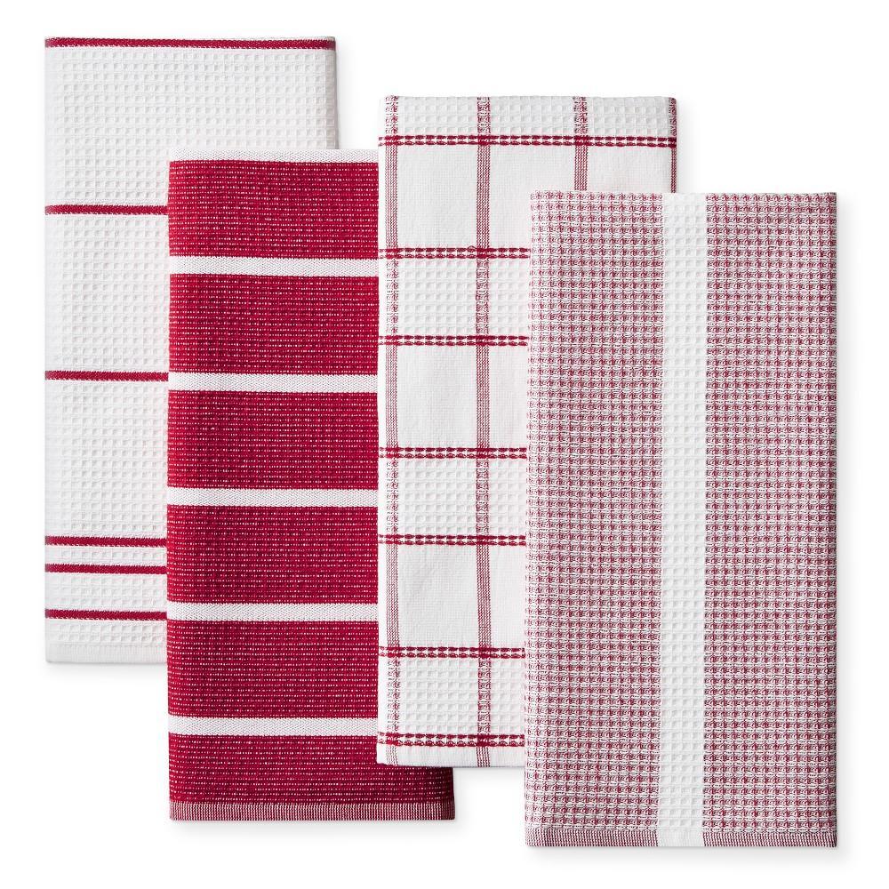 Super Absorbent Waffle Weave Multi Pack Tea Towels Claret