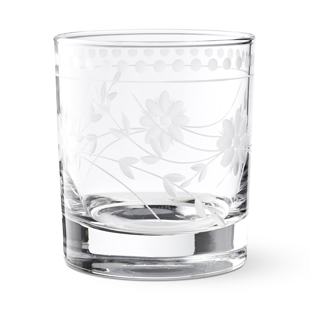 Vintage Etched Double Old-Fashioned Glass
