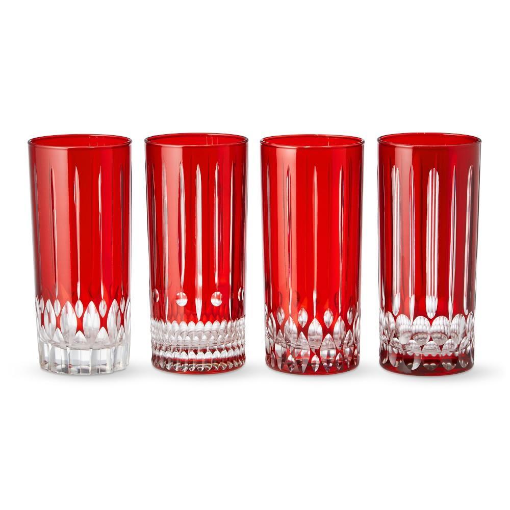 Wilshire Highball Glasses, Set of 4, Red