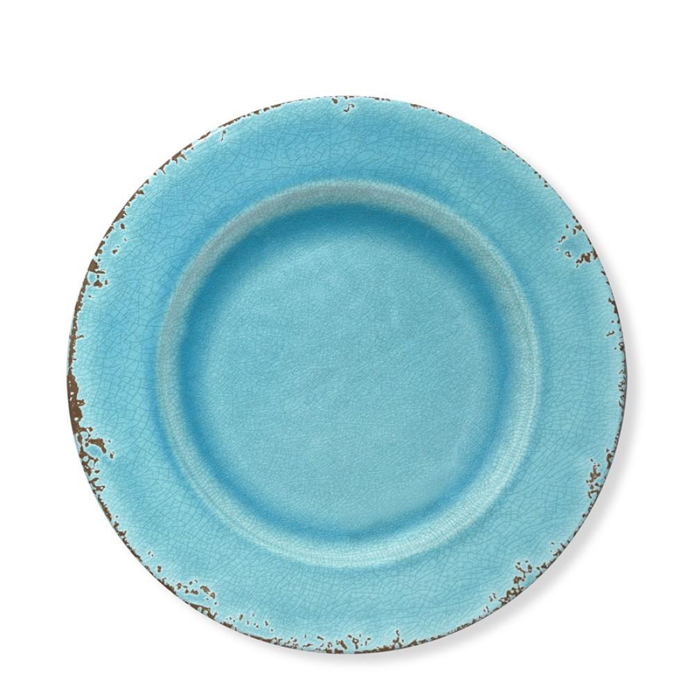 Rustic Melamine Salad Plate, Turquoise