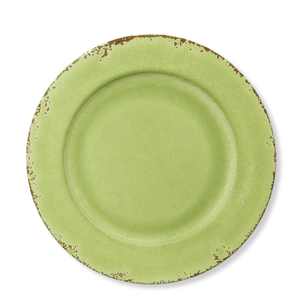 Rustic Melamine Dinner Plate, Leaf Green
