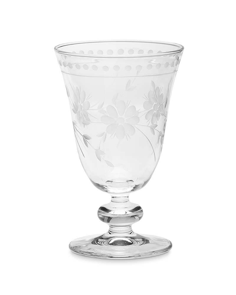 Vintage Etched Water Glass