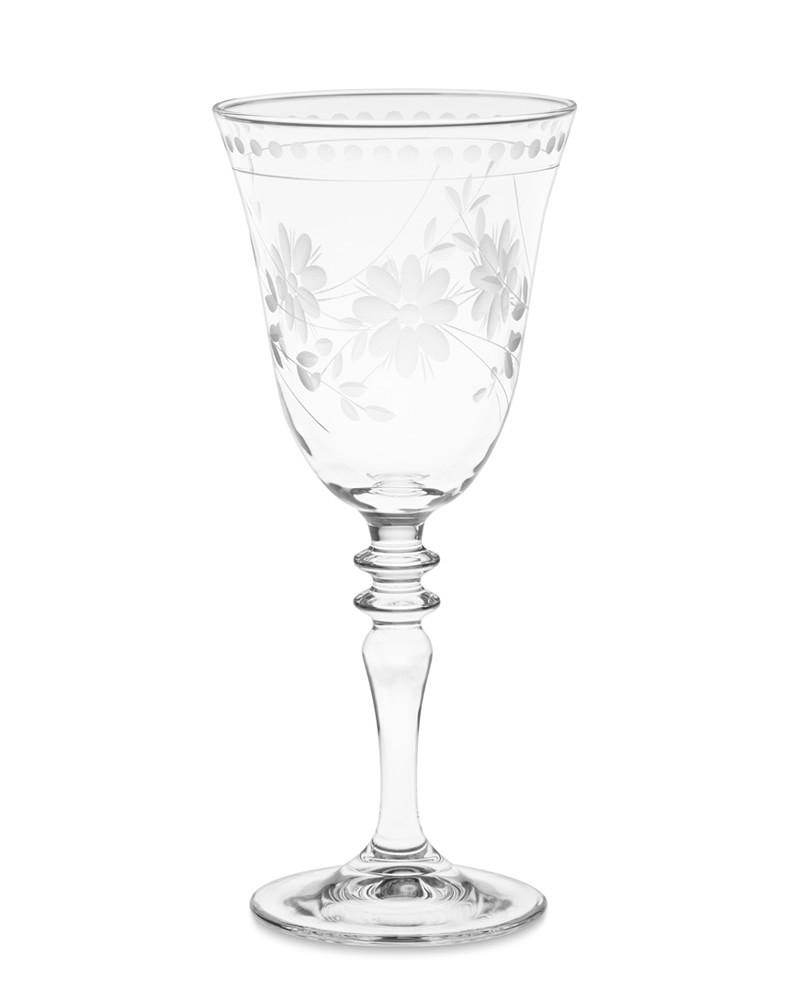 Vintage Etched Wine Glass