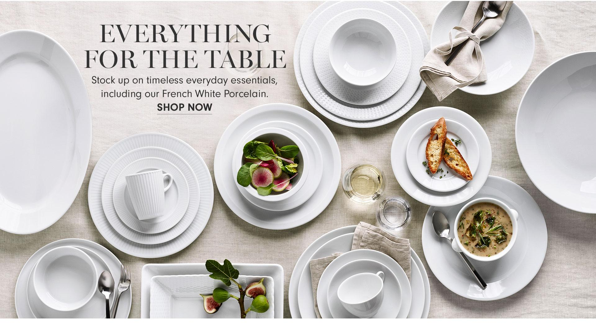 Tabletop Essentials with French White Porcelain