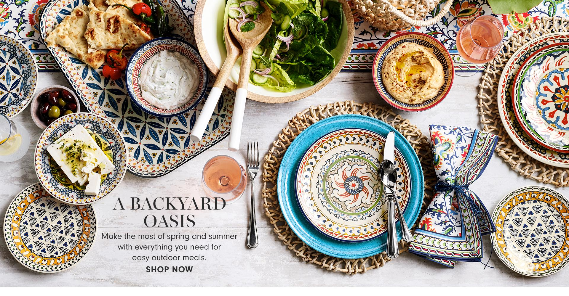 A Backyard Oasis | Make the most of spring and summer with everything you need for easy outdoor meals. | Shop Now