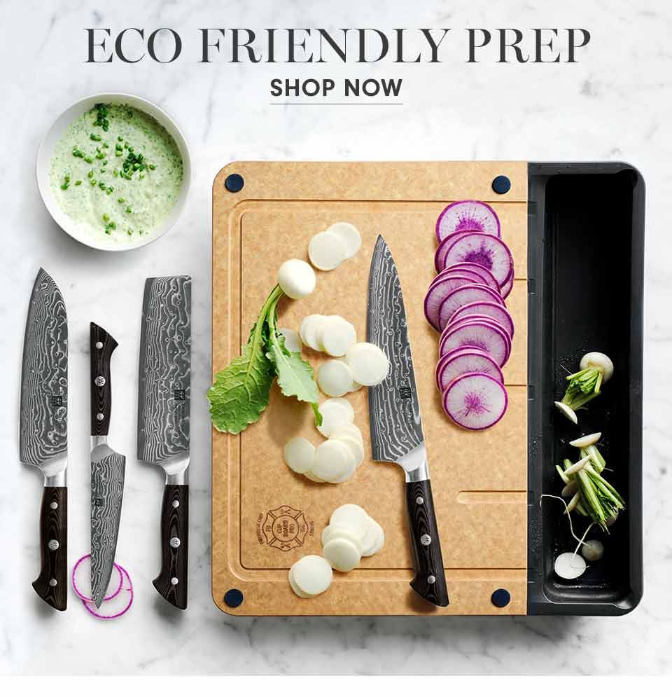 Eco Friendly Prep | Scrape scraps as you chop into the Cup Board Pro's detachable silicone tray. | Shop Now