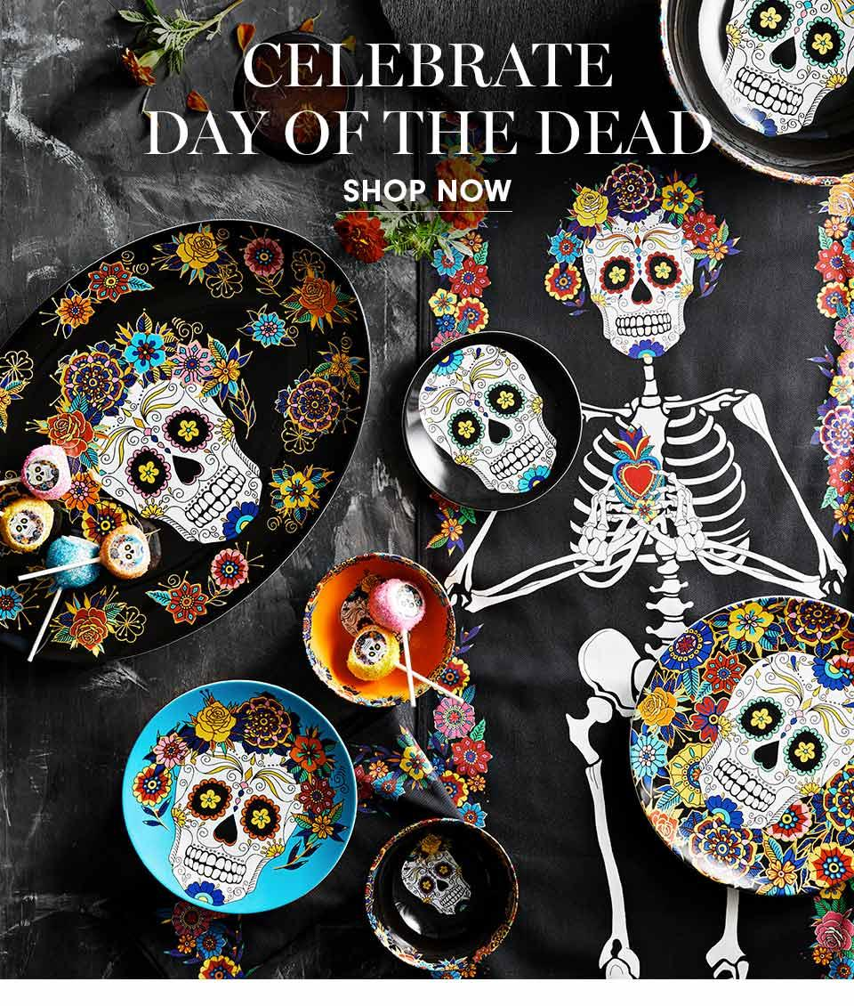 Celebrate Day of the Dead | Honouring Dia de los Muertos, the national Mexican holiday, our expertly crafted porcelain dinnerware features iconic sugar skulls and colourful blossoms with flourishes of gold. | Shop Now
