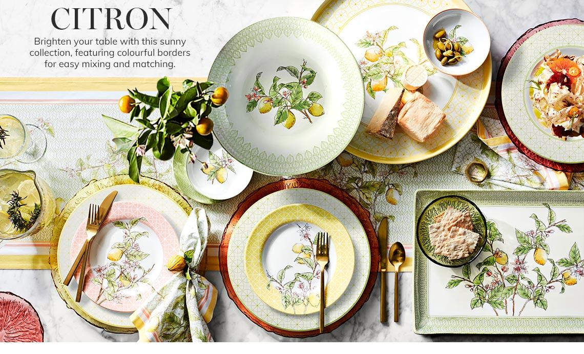 Citron Tabletop | Brighten your table with this sunny collection, featuring colourful borders for easy mixing and matching. | Shop Now