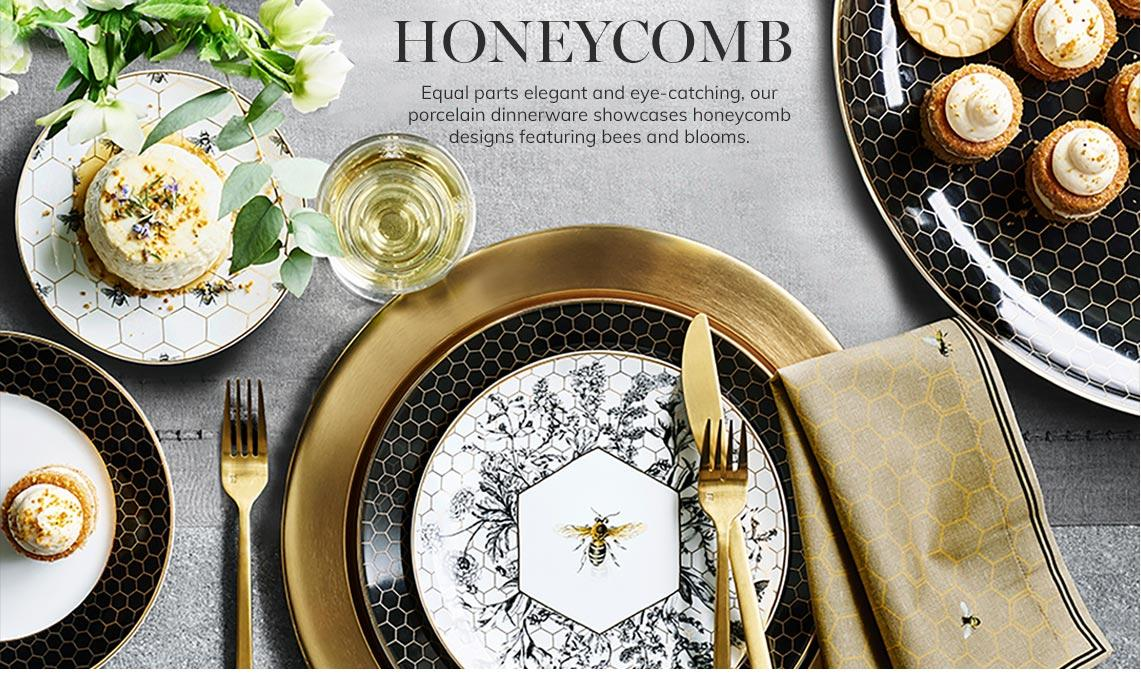 Honeycomb Tabletop | Equal parts elegant and eye-catching, our porcelain dinnerware showcases honeycomb designs featuring bees and blooms. | Shop Now