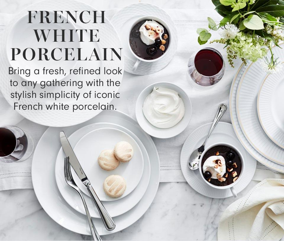 French White Porcelain Tabletop | Bring a fresh, refined look to any gathering with the stylish simplicity of iconic French white porcelain. | Shop Now