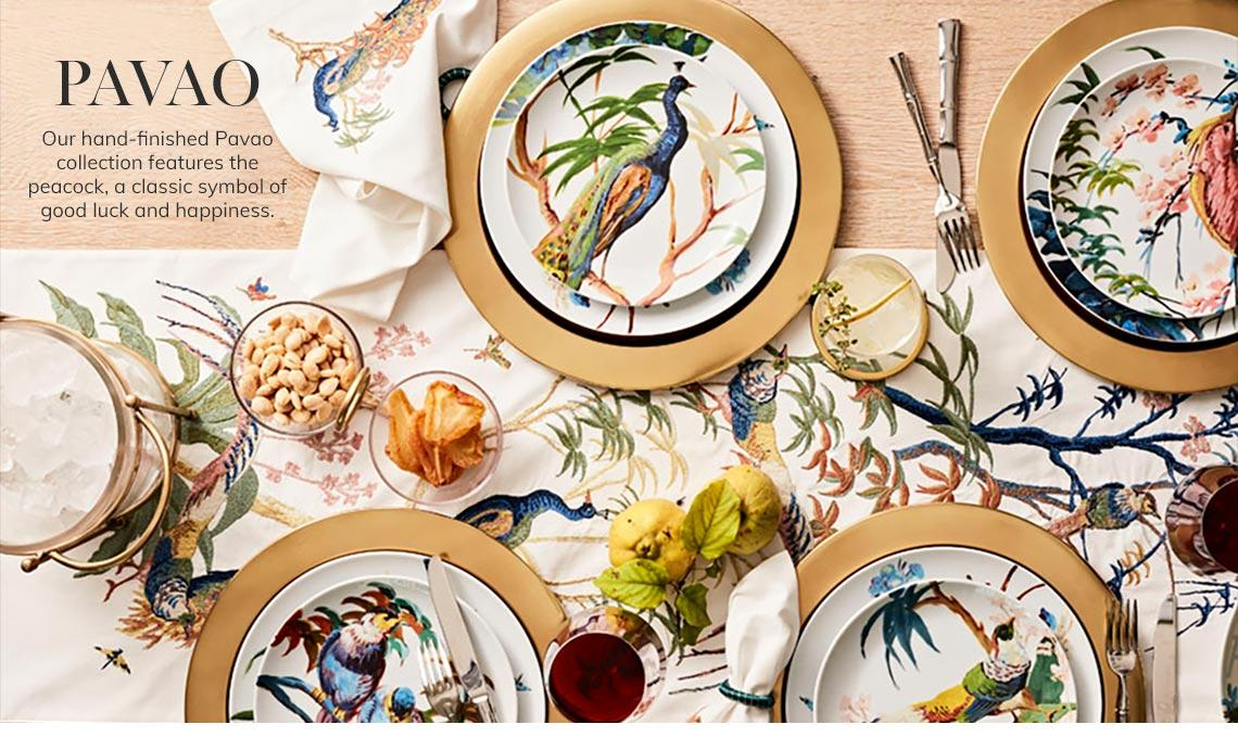 Pavao Tabletop | Our hand-finished Pavao collection features the peacock, a classic symbol of good luck and happiness. | Shop Now