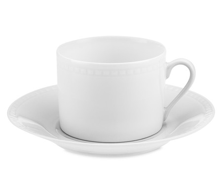 Apilco Beaded Hemstitch Porcelain Cup & Saucer