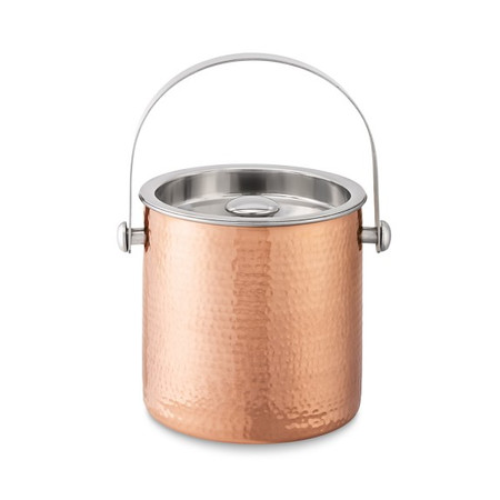 Hammered-Copper Ice Bucket With Lid