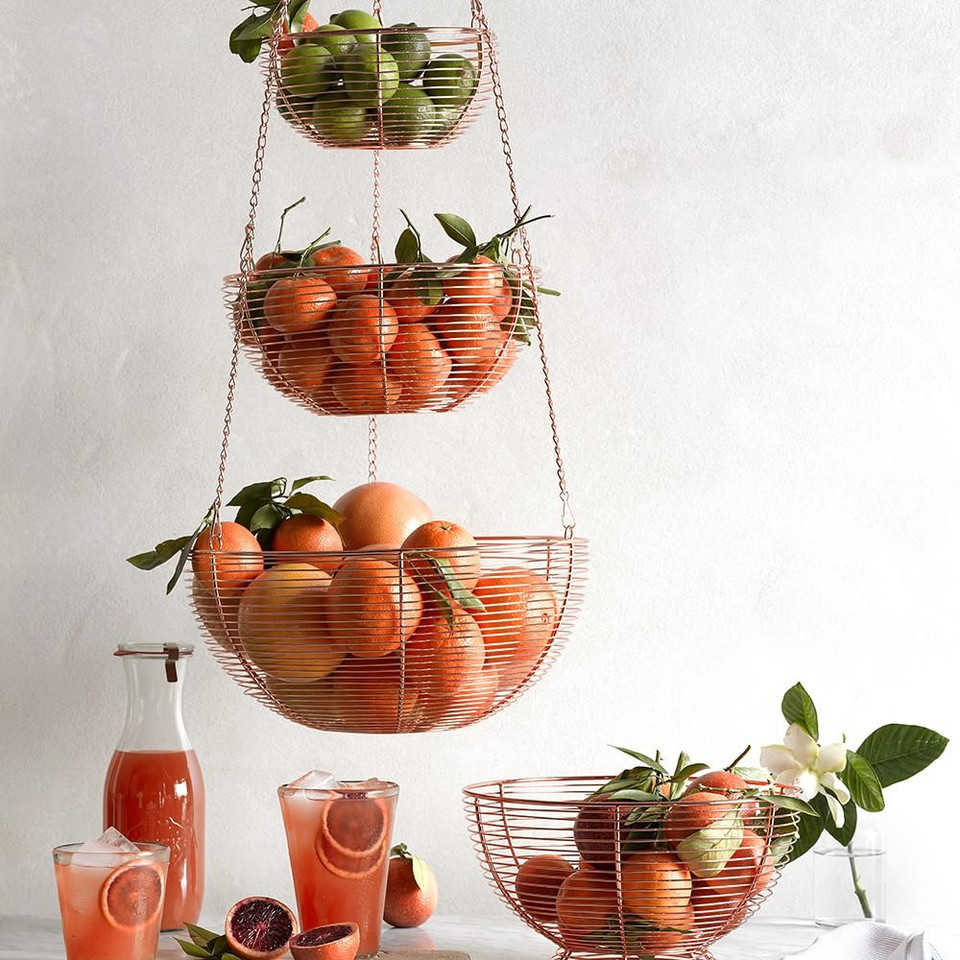 Hanging Copper Wire 3-Tier Fruit Basket