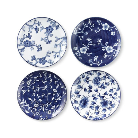 Japanese Garden Salad Plates Mixed, Set of 4