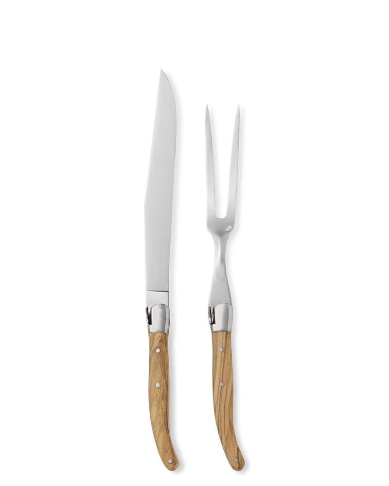 Jean Dubost Olive Wood Carving Set