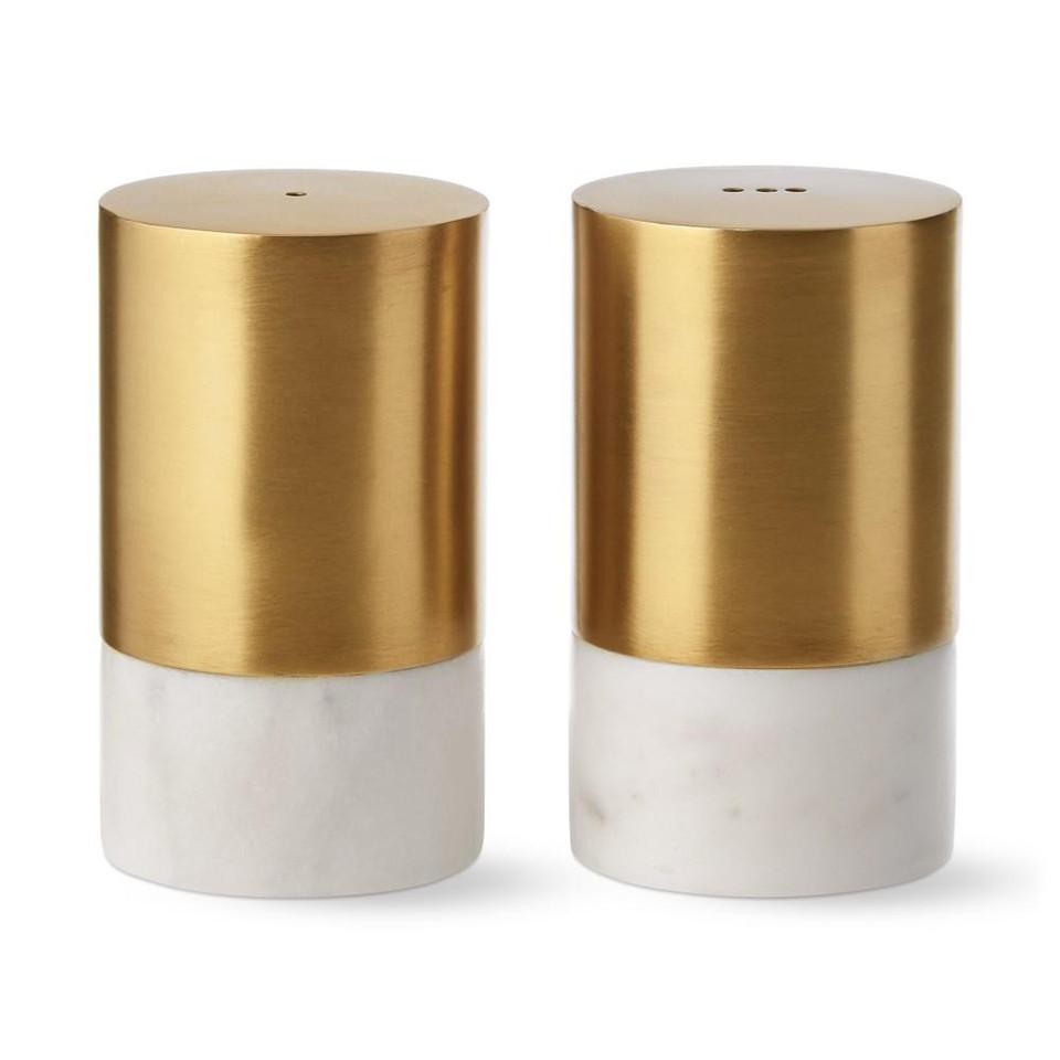 Marble Amp Brass Salt Amp Pepper Shakers Williams Sonoma Au