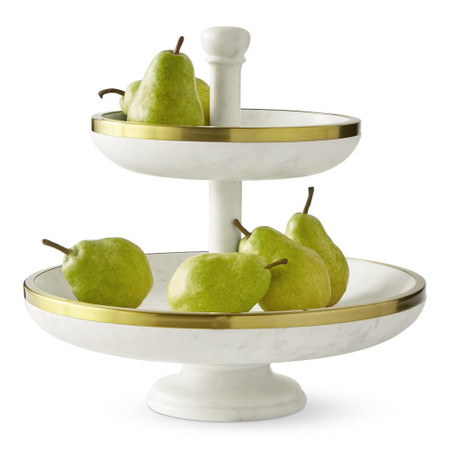 Marble and Gold Tiered Fruit Bowl