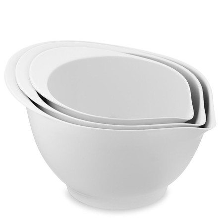 Melamine Pour Spout Bowls, Set of 3, White