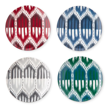 Schumacher Bukhara Ikat Appetiser Plate, Set of 4, Mixed