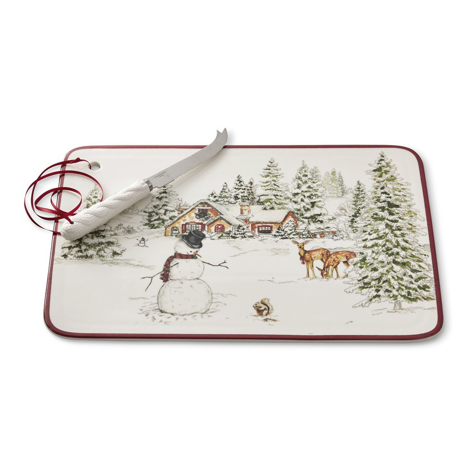 Snowman Cheese Board with Knife