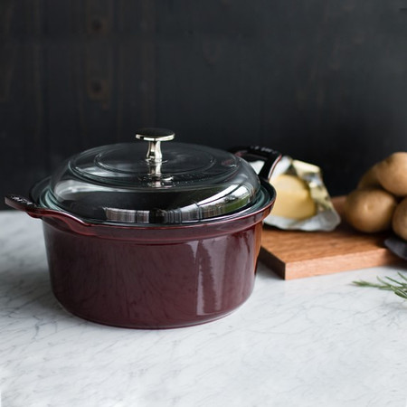 Staub Cast Iron Cocotte with Glass Lid