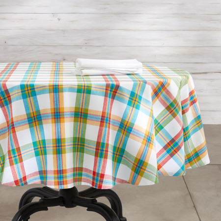 Check Oilcloth Outdoor Round Tablecloth