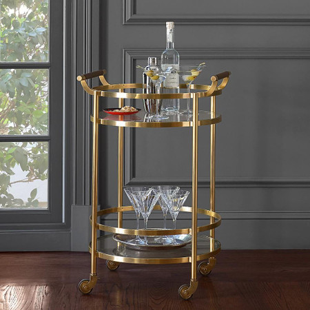 Truman Round Bar Cart, Antique Brass, Saddle Leather