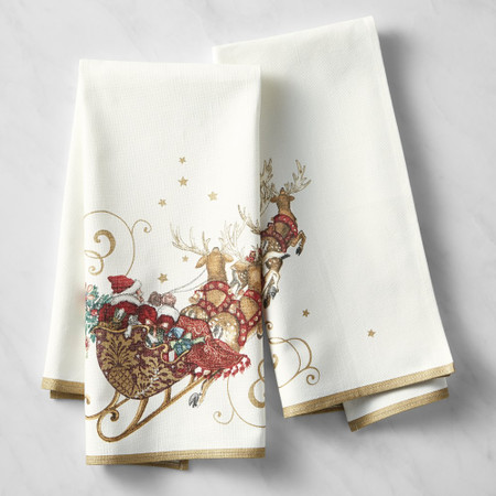 Twas the Night Before Christmas Santa's Sleigh Tea Towels, Set of 2