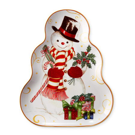 Twas The Night Before Christmas Figural Serving Platter, Snowman