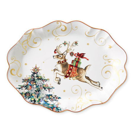 Twas the Night Reindeer Scalloped Oval Serving Platter