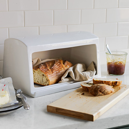 Williams Sonoma Ceramic & Wood Bread Box