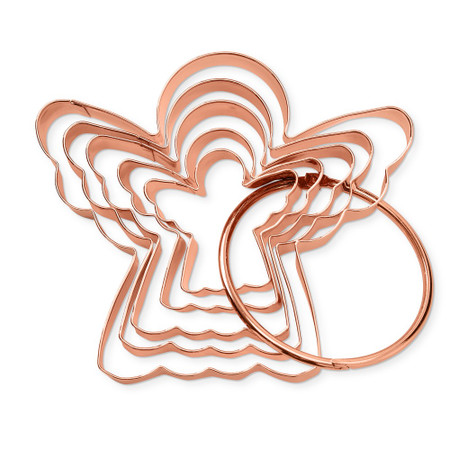 Copper Angel Cookie Cutters on Ring, Set of 5