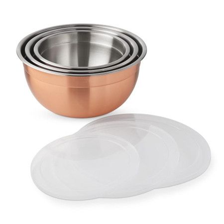 Williams Sonoma Copper Mixing Bowls With Lids, Set Of 3