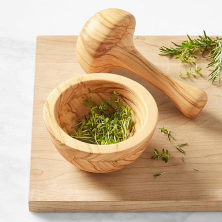Williams Sonoma Small Mortar & Pestle, Olivewood