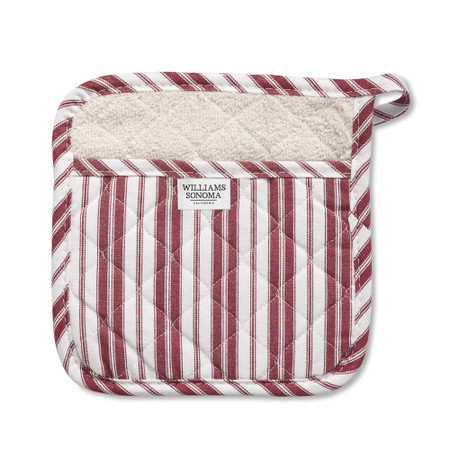 Williams Sonoma Striped Potholder, Claret Red
