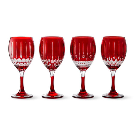 Wilshire Jewel Cut Wine Glasses Mixed, Set of 4, Red