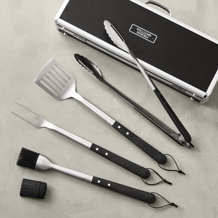 Williams Sonoma Black-Handled 4-Piece Barbecue Tool Set with Storage Case