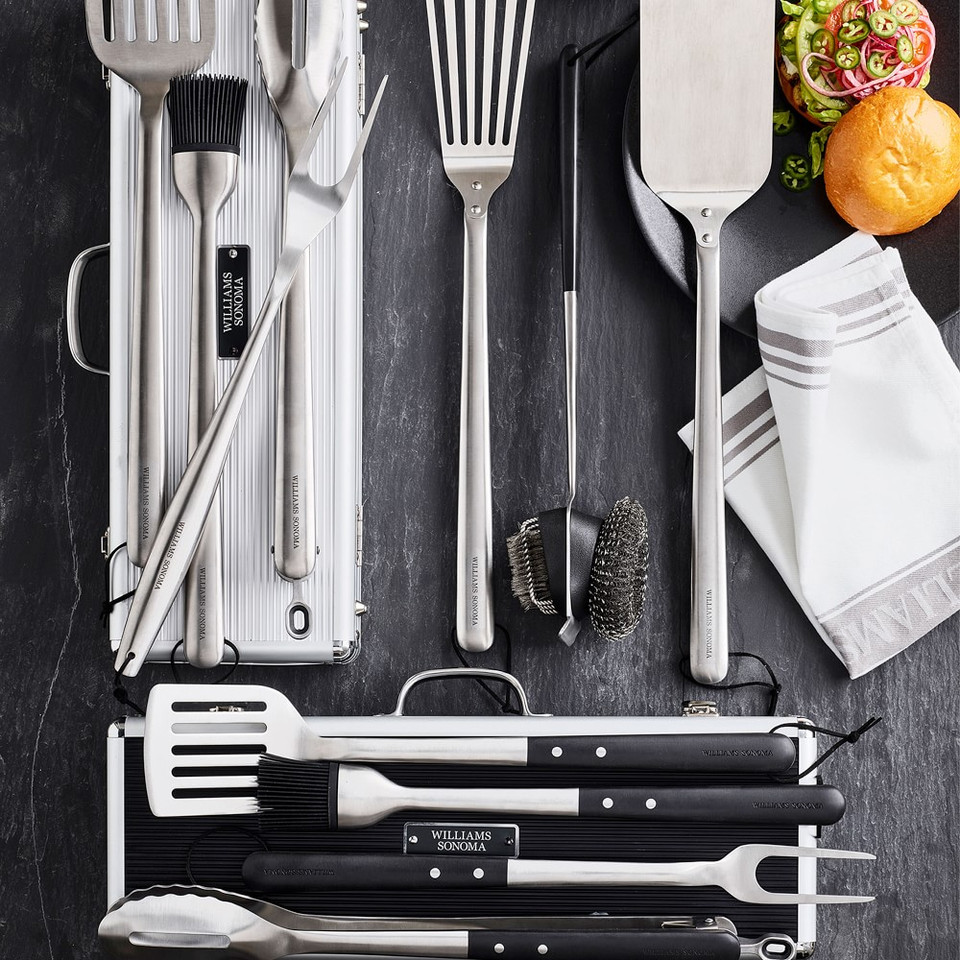 Williams Sonoma Stainless Steel Handled 4-Piece Barbecue Tool Set with Storage Case